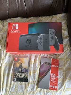 Nintendo Switch Black — w/ Zelda and Screen Protector for Sale in Pittsburgh, PA