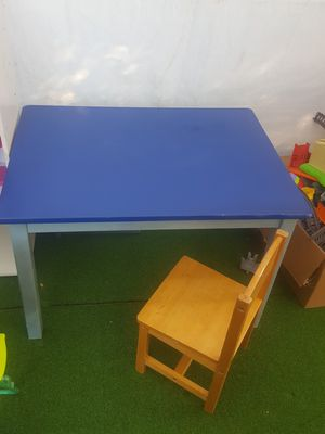 Solid wood kid table and 1 chair for Sale in San Mateo, CA