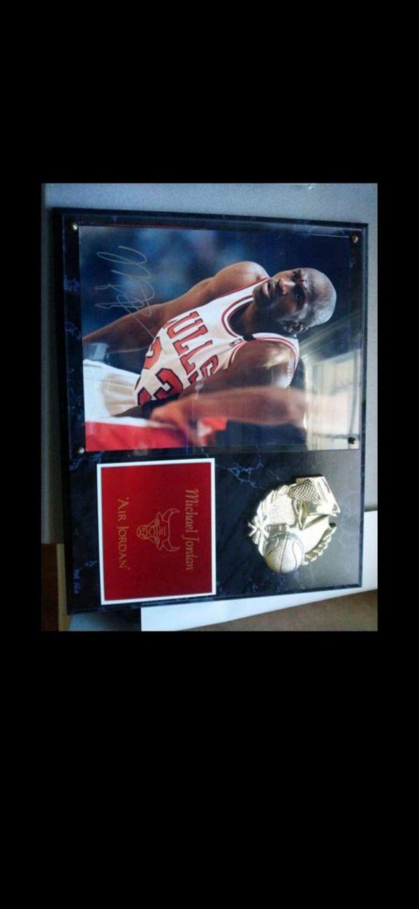 MJ signed plaque