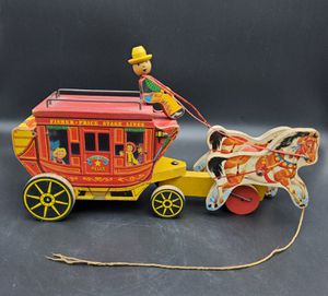 Vintage 1954 Fisher Price Gold Star Stage Coach Pull Toy for Sale in Columbus, TX