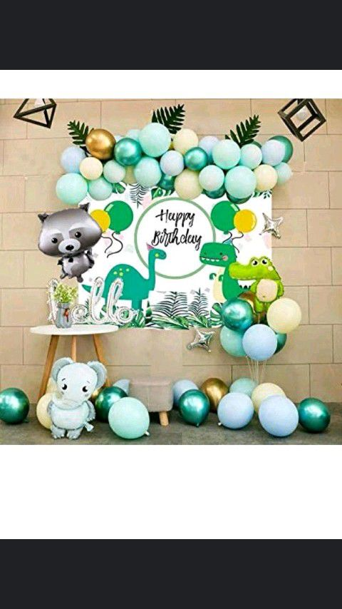 Jungle animals dinosaur happy birthday party backdrop / decorations and balloons