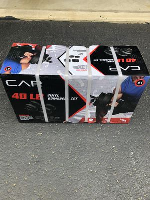 BRAND NEW CAP BARBELL 40-POUND ADJUSTABLE VINYL DUMBBELL WEIGHT SET IN HAND 40LB for Sale in Uxbridge, MA