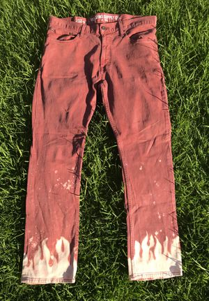 Custom Bleach Flame Jeans for Sale in Bell, CA