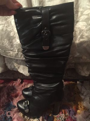 ALDO KNEE HIGH BLACK LEATHER BOOTS 7.5 for Sale in Gaithersburg, MD