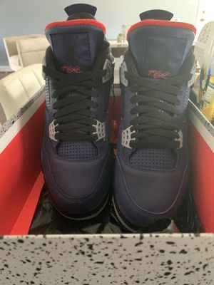 Nike Air Jordan 4 Retro Winterized Shoe Loyal Blue Habanero size 8.5 for Sale in Fort Washington, MD