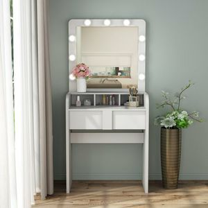 Tribesigns Vanity Table Set with Lighted Mirror, Make up Vanity Dressing Table with 9 Cool Light Bulb with Drawers for Bedroom for Sale in Anaheim, CA