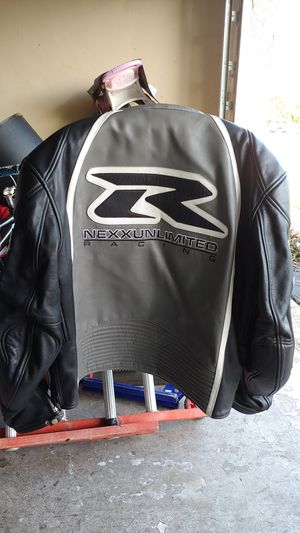 Leather motorcycle jacket black/gray/white for Sale in Boca Raton, FL