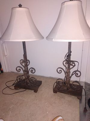 2 pair heavy metal table lamps ivory shades for Sale in Alexandria, VA