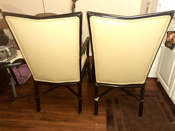 McGuire Italian leather chairs with table