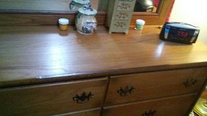 Brown wooden dresser drawer with mirror for Sale in Lawton, OK