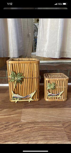 Beach Palm Woven Wicker Boho Tissue Cover And Wastebasket for Sale in La Mesa, CA