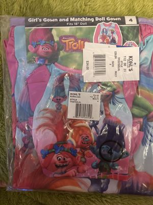 Girls size 4 Trolls girl gown & matching doll gown New $20 for Sale in San Bernardino, CA