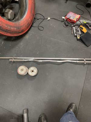 Bollinger standard bar, curl bar & Weights for Sale in Union, NJ