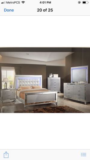 Brand new queen size bedroom set with led light gorgeous bedroom set $1499 for Sale in Hialeah, FL