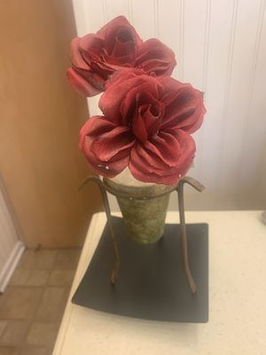 "15"" rose fake green plant decor for Sale in Milwaukee, WI"