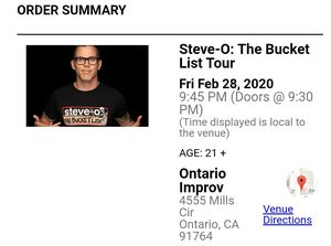 Steve-O The Bucket List Tour (1 ticket only) for Sale in Chino, CA