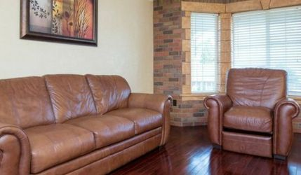 Two Brown Real Leather Couches for Sale in Vancouver,  WA