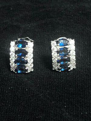 Sterling Silver Dark Blue CZ/ Crystal Earrings for Sale in Las Vegas, NV