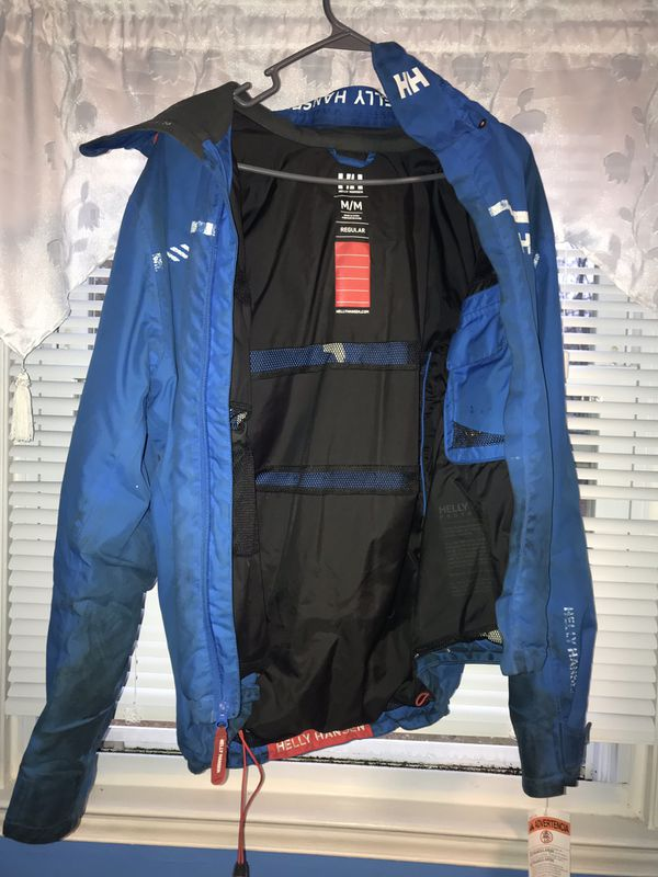 Blue and white Helly Hansen jacket size medium men's Cond {link removed} just dirty need dry cleaned ❗️❗️ with hoodie