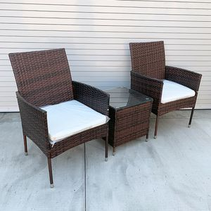 "New $130 Small 3pcs Wicker Ratten Patio Outdoor Furniture Set (Seat size 19x19"") Assembly Required for Sale in Whittier, CA"