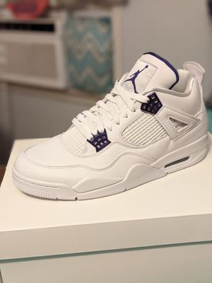"Jordan - Men's Retro Air Jordan 4 ""Purple Metallic"" (White | Court Purple | for Sale in San Bernardino, CA"