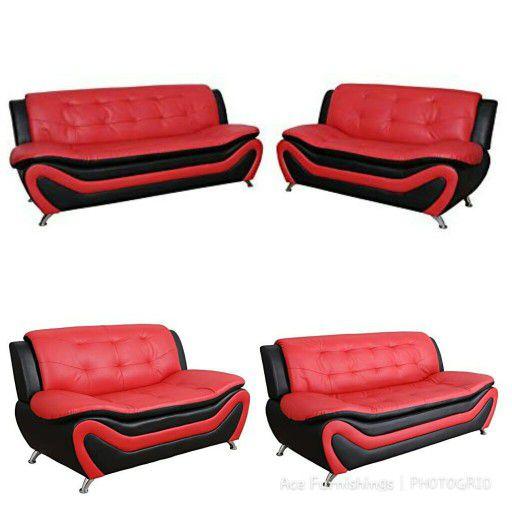 Brand New Black & Red Leather Sofa & Loveseat