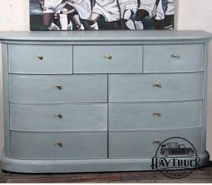 Large Vintage Art Deco Dresser 9 drawers sea glass blue color for Sale in Las Vegas, NV