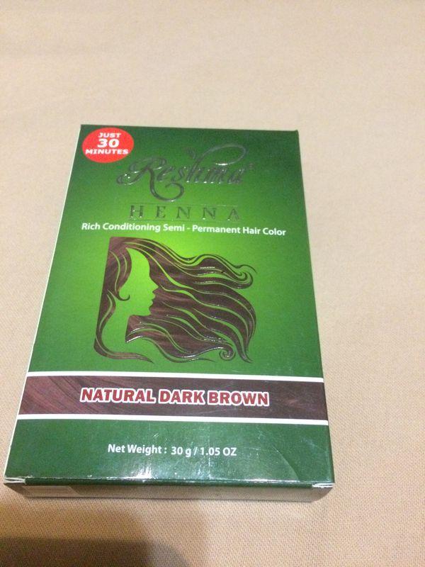 Reshma Henna rich conditioning semi- permanent hair color natural dark brown