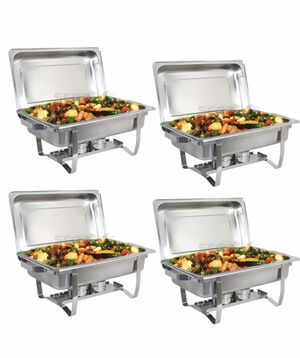Set of 4 stainless steel party trays, buffet trays, chafing dish for Sale in Inglewood, CA