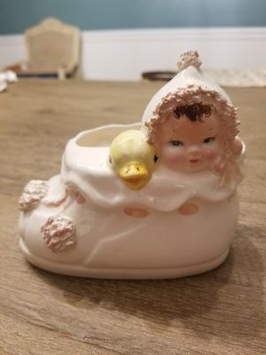 Baby girl and duck antique planter for Sale in Canal Winchester, OH