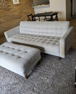Gorgeous Ivory Upholstered Sofa with Ottoman for Sale in Canton, MI