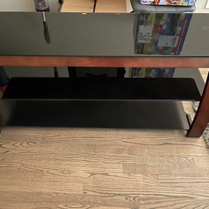 Cherry Wood And Three Tier Black Glass TV Stand for Sale in Schaumburg, IL
