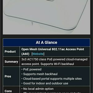 Open Mesh Universal 802.11ac access point A60 (X2) for Sale in Phoenix, AZ