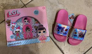 LOL Girls Shoes Slides, Size 11/12, Dress Up Paper Dolls. New in Package. for Sale in FL, US