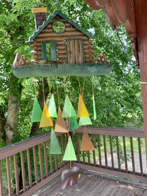Metal Log Cabin & Bear Stained Glass Wind Chime Sun Catcher Mobile for Sale in Nashville, TN