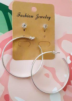 New silvertone flat open hoop earrings & crystal studs for Sale in Fullerton, CA
