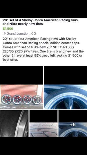 "20"" set of 4 Shelby Cobra American Racing special edition center caps, rims and NITTO near new tires for Sale in Grand Junction, CO"