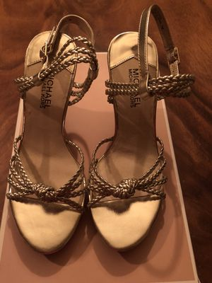 Michael Kors gold wedge heels size 7 - brand new in box for Sale in Santa Monica, CA
