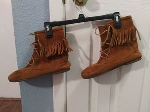 BoHo Vibes Minnetonka Leather Fringe Mid-Calf Boots for Sale in Spring, TX