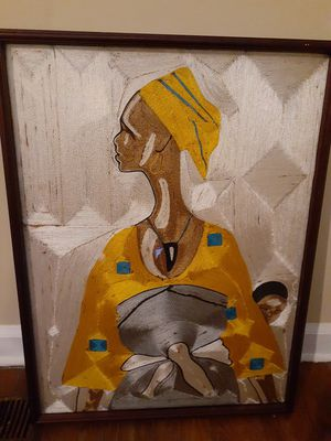 Beautiful Hand Sewn Lady and Child in Wood Frame for Sale in Raleigh, NC
