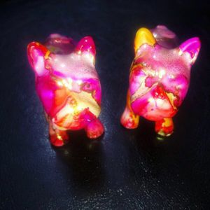 salt pepper shakers alcohol ink resin dog french dogs frenchies bull dogs bulldogs for Sale in Germantown, MD