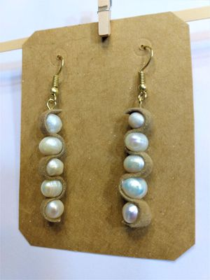 Leather wrapped Natural fresh water Pearl Earring for Sale in Peoria, IL
