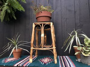 Mid century boho bohemian wicker rattan bamboo plant holder for Sale in Cornwall Bridge, CT