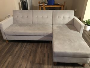 Grey futon sectional couch for Sale in Riverside, CA