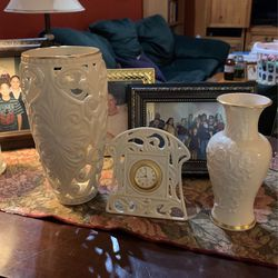 Lenox Porcelain China Collection Vases And Mantle Clock for Sale in Miami,  FL