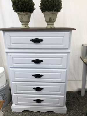 Newly redone tallboy dresser farmhouse style for Sale in Tacoma, WA