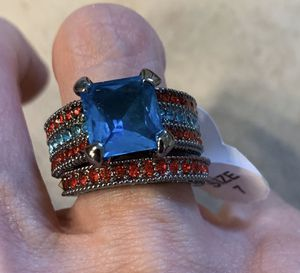 New 2 piece CZ blue sapphire silver wedding ring 7 for Sale in Palatine, IL