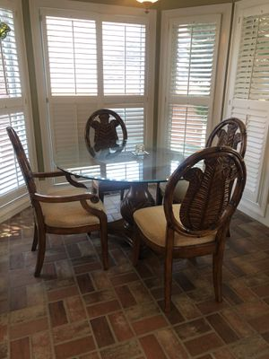 Tommy bahama style dining g table with four chairs for Sale in Alpharetta, GA