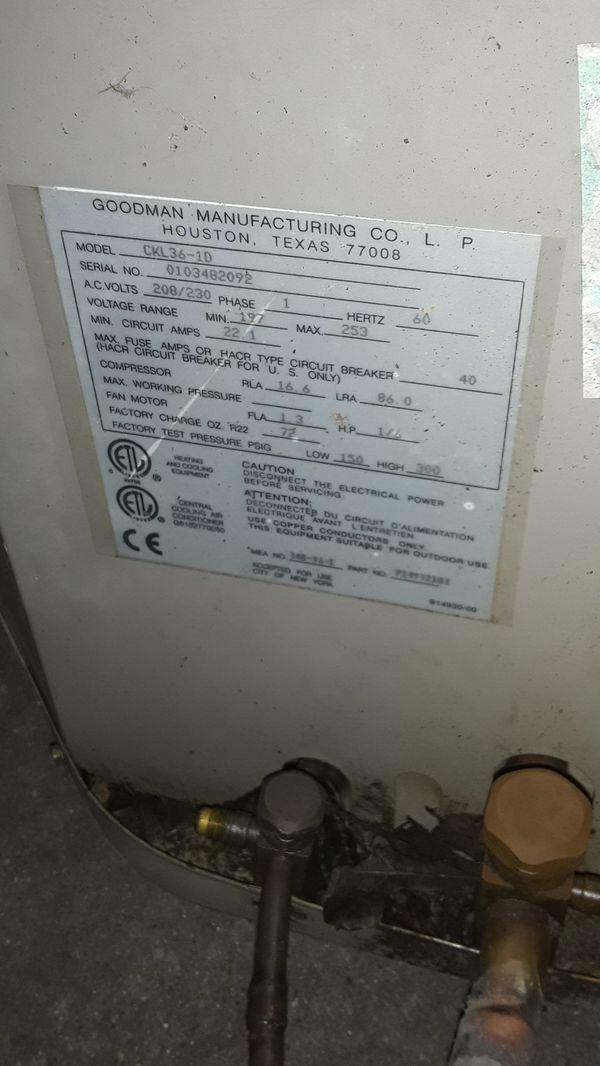 Goodman 3 ton r-22 condenser