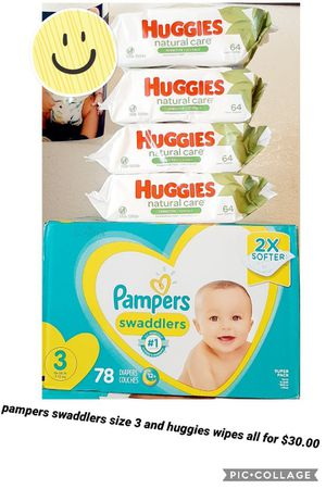 Pampers swaddlers size 3 and huggies wipes for Sale in Los Angeles, CA